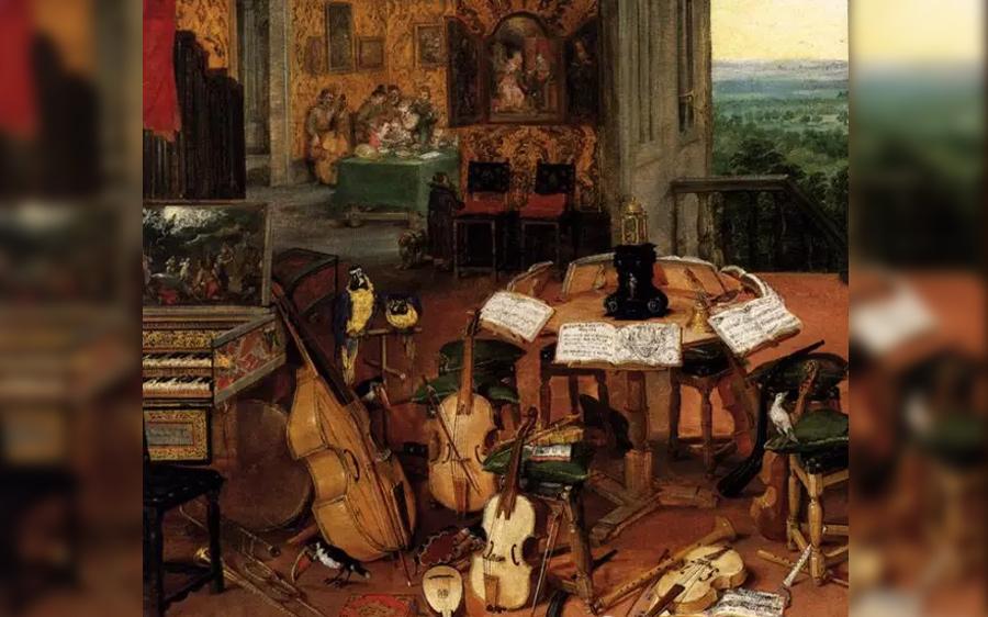 1618年,油画《听觉的感受》(西班牙)