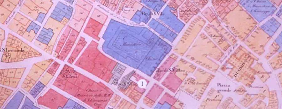 """1750年左右的克莱蒙娜地图,图中""""I""""表明瓜奈里家族的住所位置"""