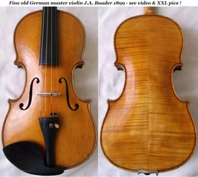 Fine old German master violin J.A. Baader 1899 - see video & XXL pics